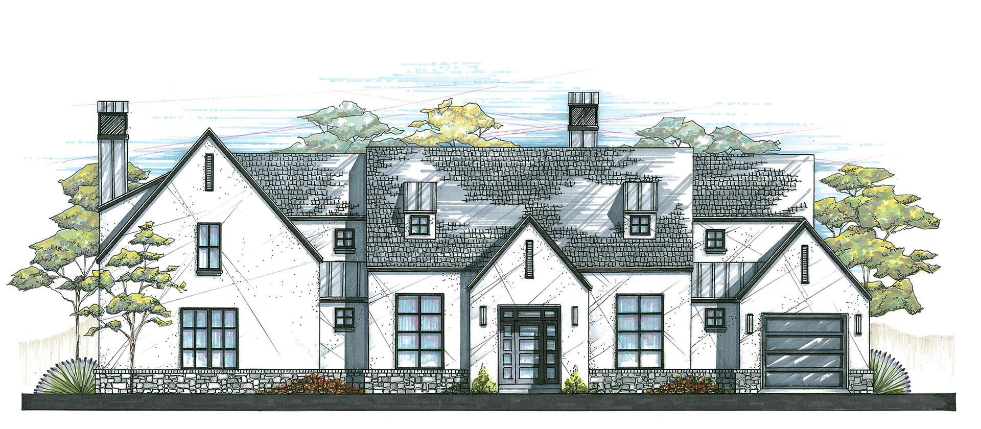House sketch of a Modern Farmhouse design